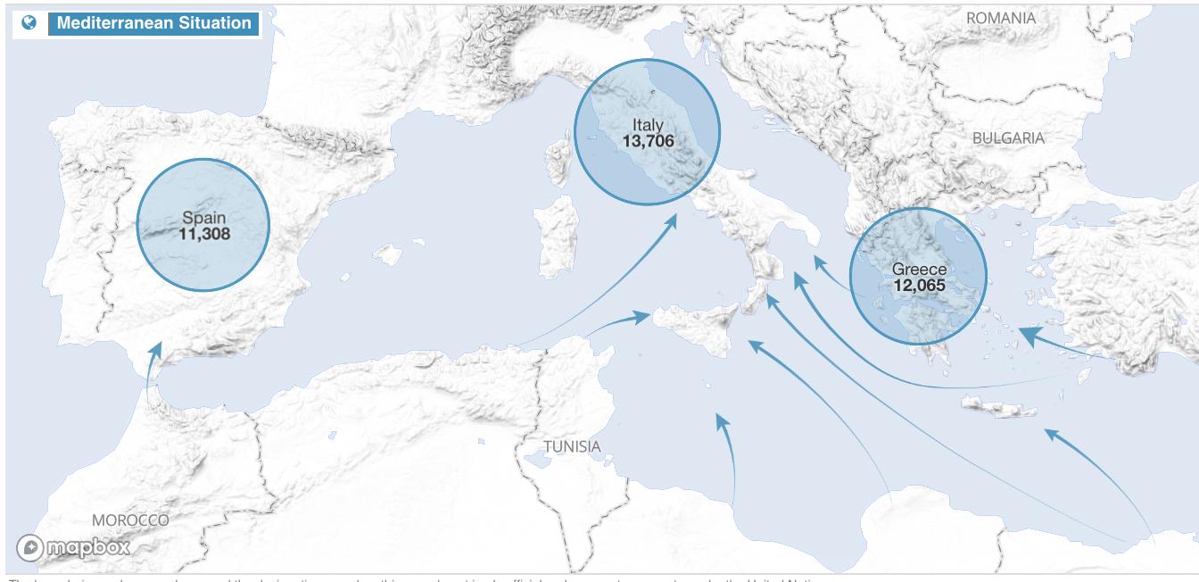 Sono 34.510 le persone giunte in Europa via mare dall'inizio del 2018 (aggiornato all'11 giugno). 784 i morti e dispersi. Fonte: UNHCR