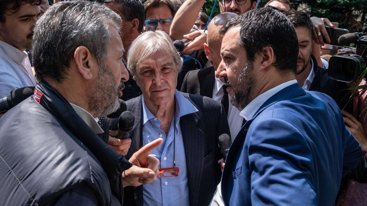 Sergio Bramini, al centro, con Matteo Salvini