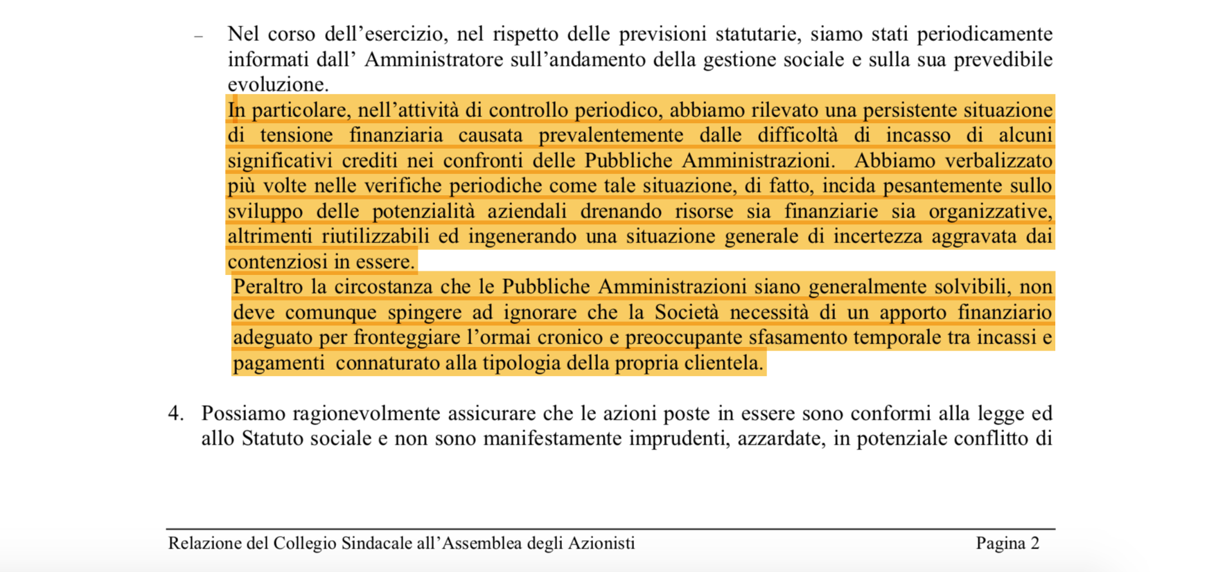 L'estratto della relazione del collegio sindacale della ICOM tratto dal bilancio 2006 della società
