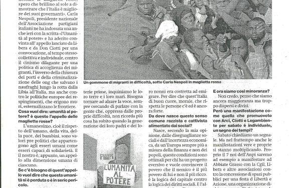 """""""Il 7 luglio con le magliette rosse per fare un appello forte al senso di umanità delle italiane e degli italiani"""""""