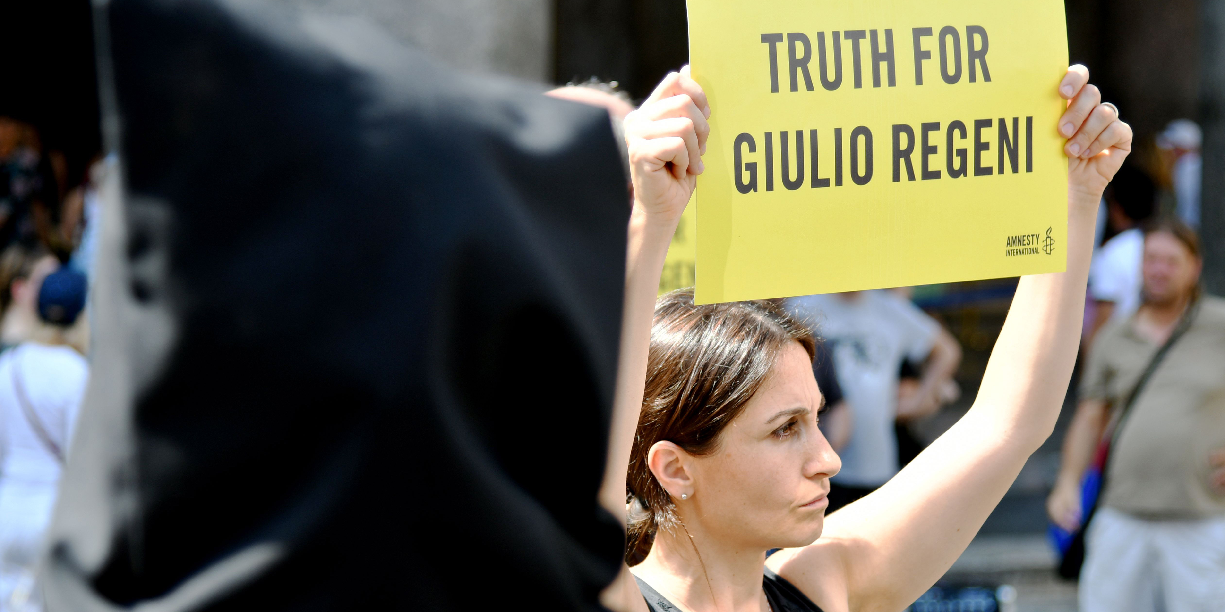 Amnesty International activists perform a flash mob on July 13, 2016, in Rome's Pantheon square to remember late Italian student Giulio Regeni and other victims following their last report. The badly mutilated body of Regeni, a 28-year-old Cambridge University PhD student, was found out on February 4, 2016 in Cairo. Italian media and diplomats say he was killed by the security services but Egypt denies the claims. / AFP / VINCENZO PINTO (Photo credit should read VINCENZO PINTO/AFP/Getty Images)