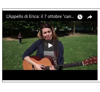 L'appello di Erica: il 7 ottobre cantiamo insieme la pace!