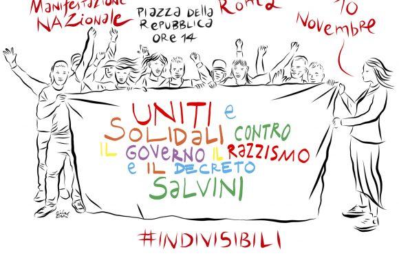 """IL 10 NOVEMBRE A ROMA, TUTTI IN PIAZZA """"UNITI E SOLIDALI CONTRO IL GOVERNO, IL RAZZISMO E IL DECRETO SALVINI"""""""