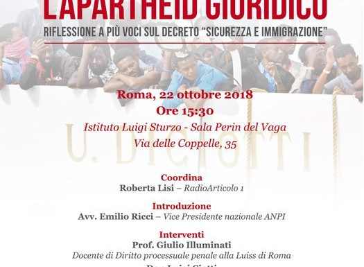 """L'APARTHEID GIURIDICO: incontro pubblico a Roma sul decreto """"sicurezza e immigrazione"""""""