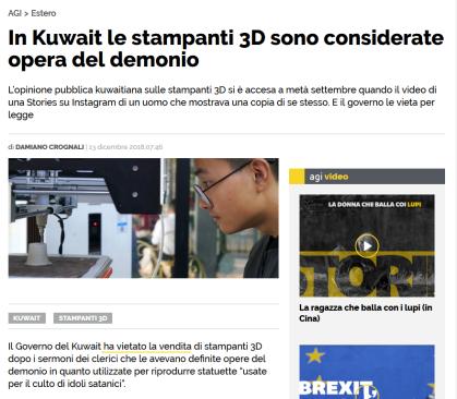 Bufala: Il Kuwait non ha messo al bando le stampanti 3D