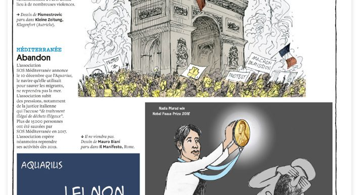 Courrier International. Speciale. Vignette per un anno. Dicembre 2018, Aquarius.