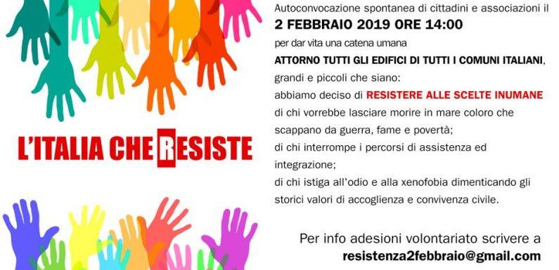 L'Italia che resiste, catena umana il 2 febbraio in tutti i Comuni italiani