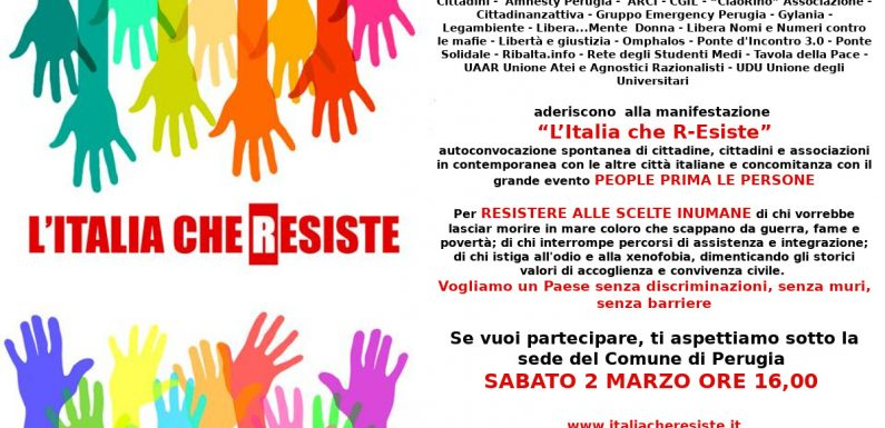 """A Perugia il 2 marzo manifestazione """"L'Italia che R-Esiste"""""""