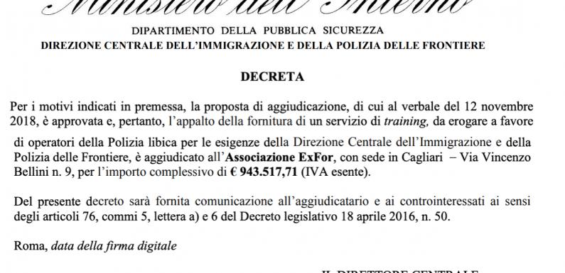 Ecco chi ha vinto il nuovo appalto per la formazione della polizia libica del ministero dell'Interno italiano