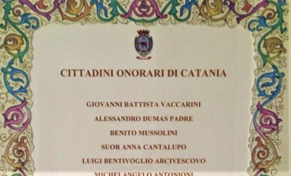 Benito Mussolini cittadino onorario di Catania