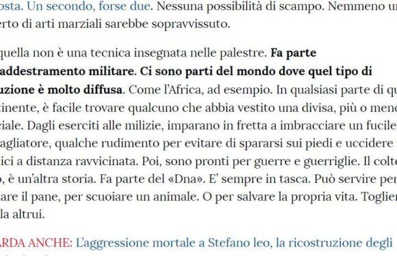 """Per """"La Stampa"""" di Torino gli africani hanno il coltello nel DNA"""