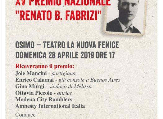 XV° PREMIO NAZIONALE ANPI RENATO FABRIZI