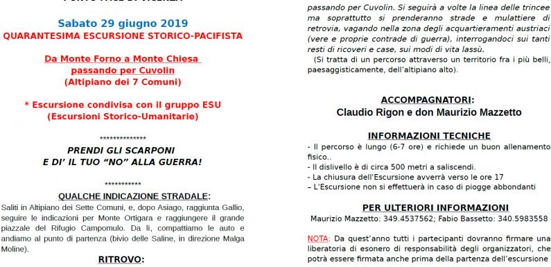 Punto Pace Vicenza – Quarantesima Escursione storico-pacifista – 29 giugno 2019 – Monte Forno