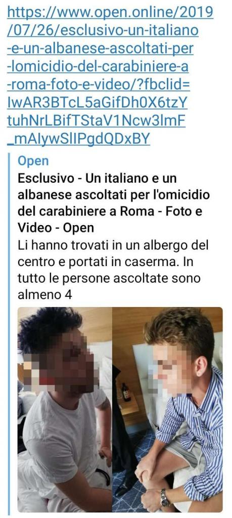open, carabiniere accoltellato, Roma, esclusiva, Open