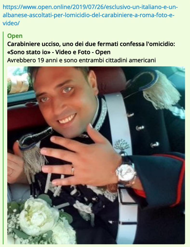 open, carabiniere ucciso, Roma, americani
