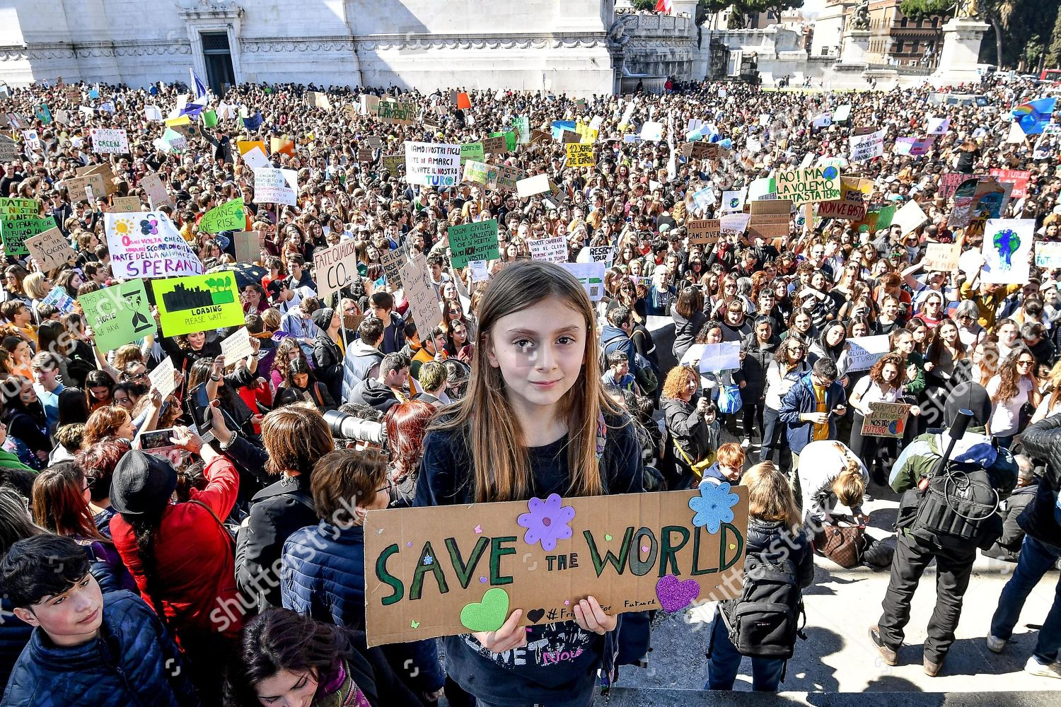 Mandatory Credit: Photo by ALESSANDRO DI MEO/EPA-EFE/Shutterstock (10156657e) Alice Imbastari, the youngest girl who takes part in the demonstration against global warming 'Global Climate Strike', in Rome, Italy, 15 March 2019. Students from several schools across the city are taking part in a massive global student strike movement called '#FridayForFuture' which was sparked by Greta Thunberg of Sweden, a sixteen year old climate activist who has been protesting outside the Swedish parliament every Friday since August 2018. 'Global Climate Strike' rally in Rome, Italy - 15 Mar 2019