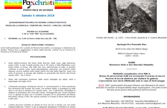 5 ottobre, Vicenza – 44 -sima Escursione storico-pacifista passo della Borcola / Pontón del Pruste / cima del Coston