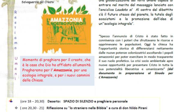 Punto Pace di Bologna – mercoledì 9 ottobre veglia sull' Amazzonia