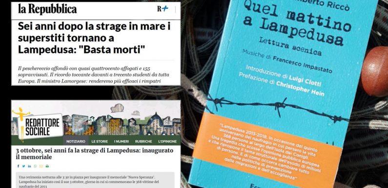 """""""Quel mattino a Lampedusa"""", la lettura scenica di Antonio Umberto Riccò"""