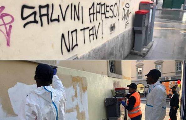 Scritte offensive a Salvini rimosse da richiedenti asilo