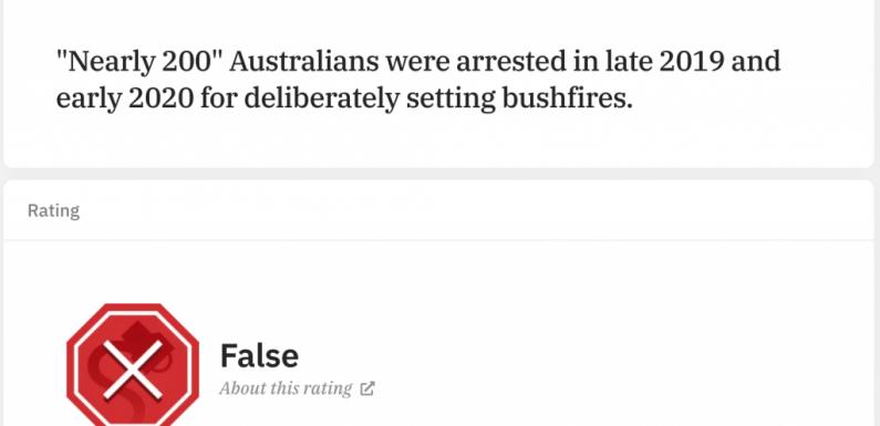"""""""Australia, 180 persone arrestate per gli incendi"""": la falsa informazione cavalcata dai negazionisti del clima"""