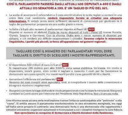 """""""Referendum sulla riduzione dei parlamentari: perché votiamo NO"""""""