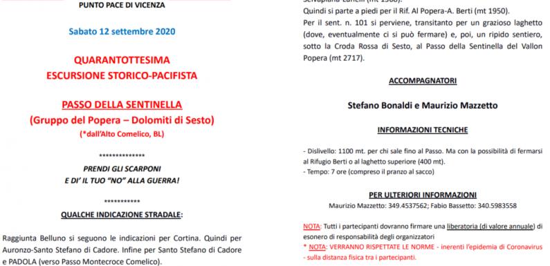 Punto Pace Vicenza – 12/9 – 48esima escursione storico-pacifista passo della sentinella