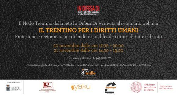 """Programmi di protezione per i giornalisti, docenti, attivisti minacciati nel mondo: """"Il Trentino per i diritti umani"""""""
