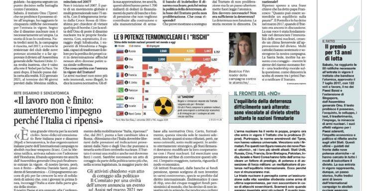 22 gennaio 2021 – Le armi nucleari diventano illegali