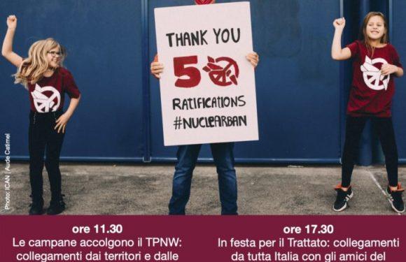 """Giornata di Festa per l'entrata in vigore del Trattato TPNW: le iniziative di """"Italia, ripensaci"""" per venerdì 22 gennaio 2021"""