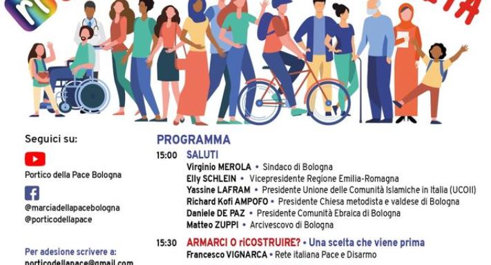 Punto pace di Bologna e portico della pace – Marcia della pace 2021: costruire fraternità