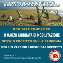 Rifondazione Comunista: Draghi da che parti stai? 11 marzo giornata per il diritto di tutte/i al vaccino