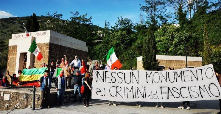 """Imbrattato il monumento a Graziani. L'ANPI: """"Non ci sporcheremmo mai le mani su quella roba"""""""