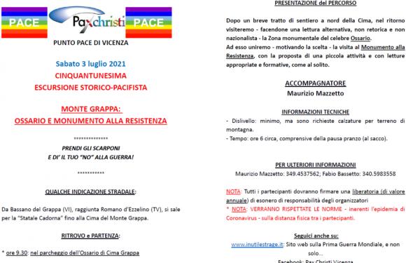 Punto Pace di Vicenza – 51a escursione storico-pacifista Monte Grappa