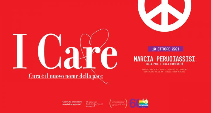 """I CARE: il motto della Marcia Perugia Assisi 2021 omaggio a Gino Strada contro la piaga del """"me ne frego"""""""