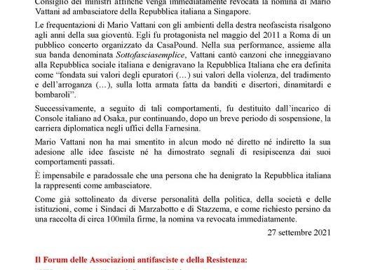 """""""IL GOVERNO REVOCHI SUBITO LA NOMINA DI MARIO VATTANI AD AMBASCIATORE ITALIANO A SINGAPORE"""""""